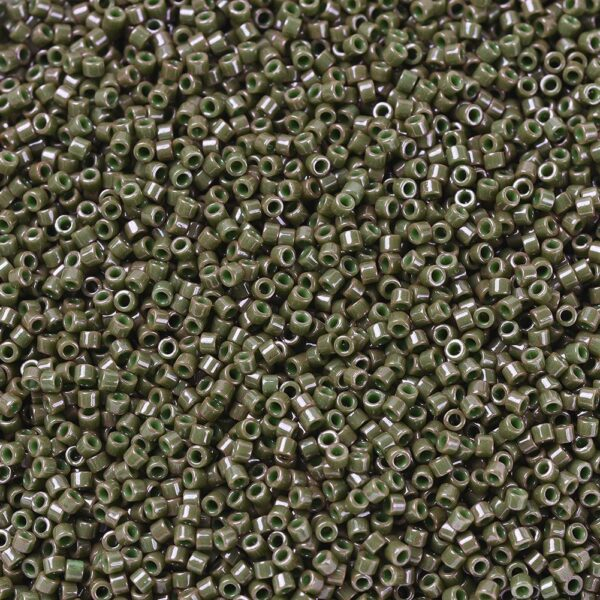 1556d952f6056cecb65678be9f603a88 MIYUKI DB0657 Delica Beads 11/0 - Dyed Opaque Olive Drab, 50g/bag