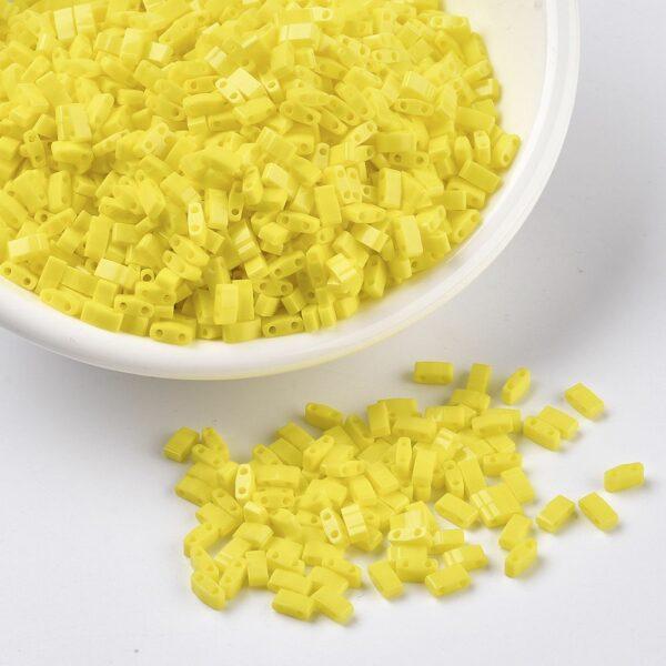 e86912fdb71b68e9bebde143b62f1bd2 2 MIYUKI HTL404 Half TILA Beads - Opaque Yellow Seed Beads, 10g/bag