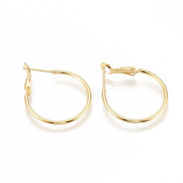 0014fd2914826904d30058d111d3722e Real 18K Gold Plated Brass Hoop Earrings, Nickel Free, 30x24.5x1.5mm; Pin: 0.7mm, 4pcs/ bag