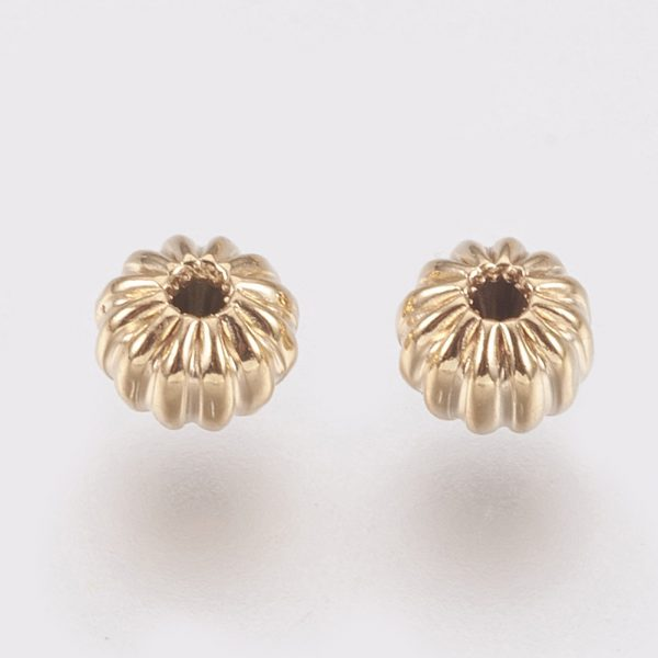 01178e9f98df41a55c5ab26187738e7b Real 18K Gold Plated Brass Rondelle Corrugated Beads, Nickel Free, 4x3mm, Hole: 1mm, 20 pcs/ bag