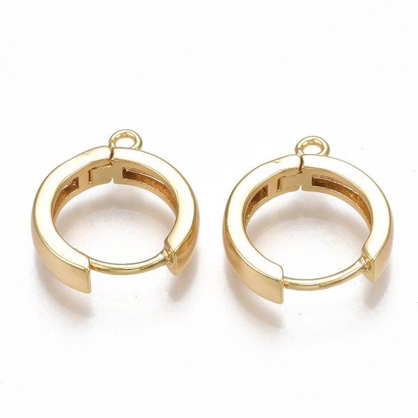 026547b0640d71510266bd1aa0b9765c Real 18K Gold Plated Brass Huggie Hoop Earring Findings, Nickel Free, 16.5x14.5x3.5mm, Hole: 1.5mm; Pin: 1mm, 2 pcs/ bag