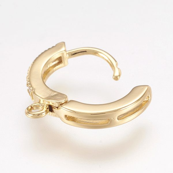 071e913cd2a6a04b23fdbef3d100aa6d Real 18K Gold Plated Brass Huggie Hoop Earring Findings with Cubic Zirconia, Cadmium Free & Lead Free, 15x2.5x13.5mm, Hole: 1.5mm; Pin: 0.9mm, 2 pcs/ bag