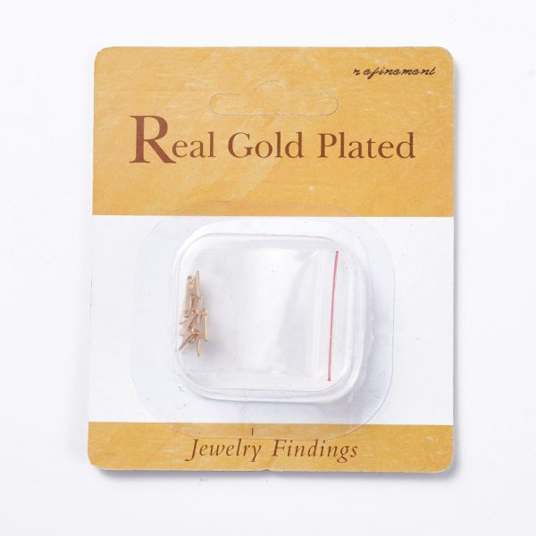 089a51bd87d97fd7139138d42ade22e8 Real 18K Gold Plated Brass Lightning Charms, Nickel Free, 11x4x0.6mm, Hole: 0.8mm, 5 pcs/ bag