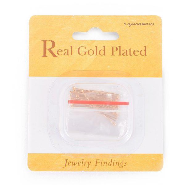09a5960339436402dcd9e9ae3a882391 Real 18K Gold Plated Brass Ball Head Pins, 30x0.8mm, Head: 2mm, 20 pcs/ bag