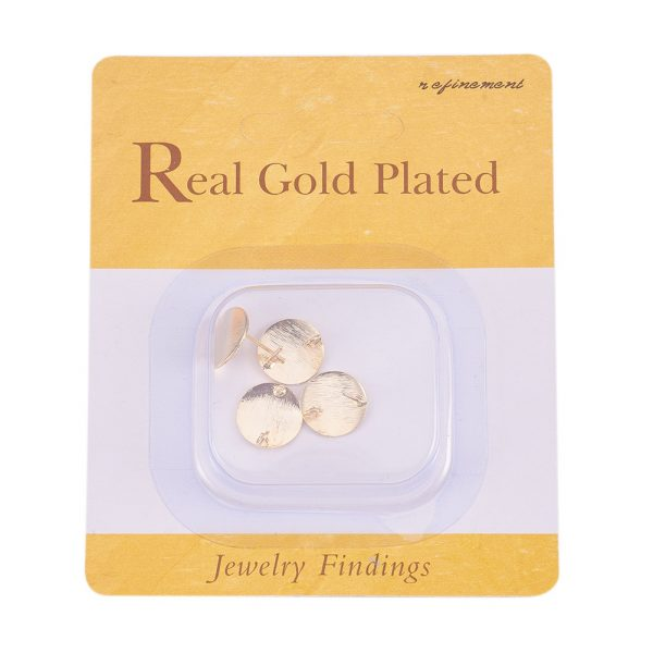 1073f6459f3065ef53ad858abdb02929 Real 18K Gold Plated Brass Flat Round Earring Studs with Loop, Nickel Free, 12mm, Hole: 2mm; pin: 0.5mm, 4 pcs/ bag