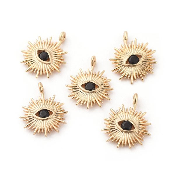 191627add9bd08f65a4c99e70b644a89 1 Real 18K Gold Plated Brass Eye Charms, with Cubic Zirconia, Black, 14x12x2mm, Hole: 1mm, 5 pcs/ bag
