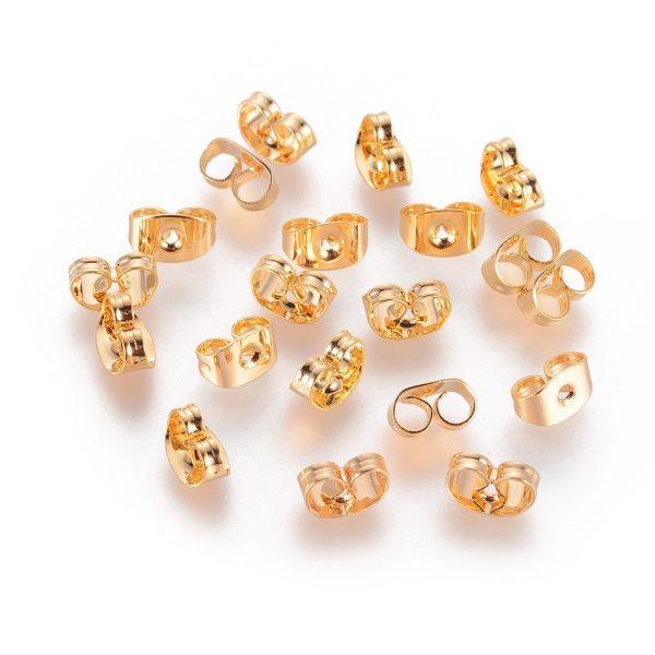 22d211b433d43f4bcb553c2a5db1c954 Real 18K Gold Plating Brass Ear Nuts, Earring Backs, Lead Free & Cadmium Free & Nickel Free, 6x4.5x3mm, Hole: 0.8mm, 20 pcs/ bag