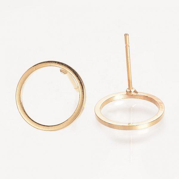 293c644258a0fb6d3f4b43b8afd39dbc Real 18K Gold Plated Brass Ring Ear Stud Findings, Nickel Free, 12mm; Pin: 0.5mm, 10 pcs/ bag