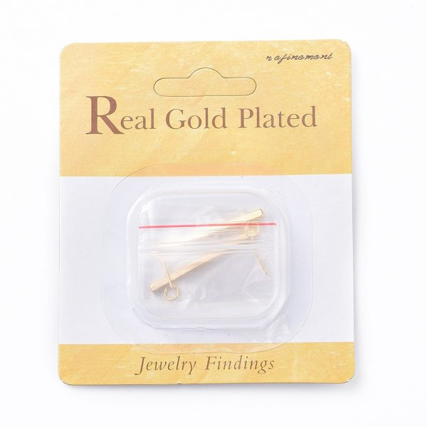 2dafebfc4421a1ada900ec1114e3ff28 Real 18K Gold Plated Brass Bar Earring Studs with Loop, Nickel Free, 35x2.5x2.5mm, Hole: 3mm; Pin: 1mm, 2 pcs/ bag