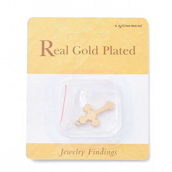 36ed140b9e6f346bc3f91a46e841441d Real 18K Gold Plated Brass Crucifix Cross Pendants, For Easter, Nickel Free, 30.5x17.5x3mm, Hole: 1.5mm, 1 pcs/ bag