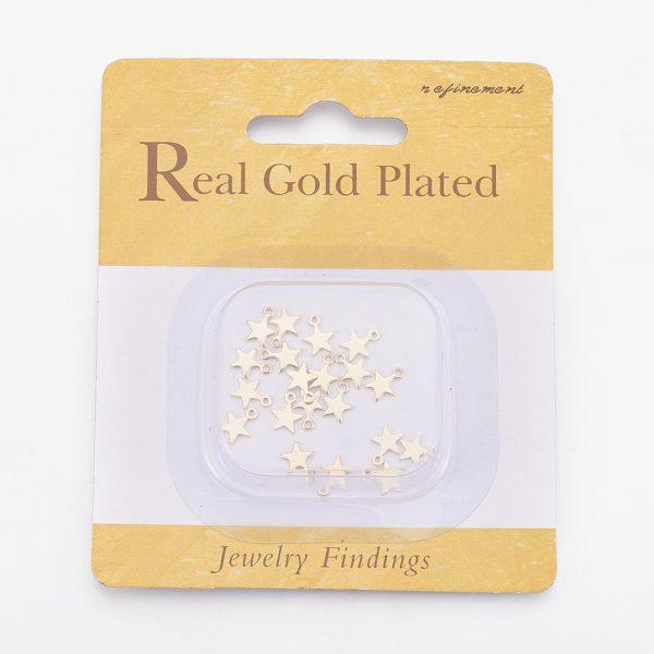 37f9c4af5a4907265c5d509da7c6d9ea Real 18K Gold Plated Brass Star Charms, Nickel Free, 8x6x1mm, Hole: 1mm, 20 pcs/ bag