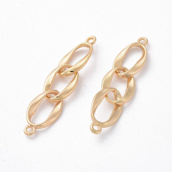 3cc74c2a8eca84f2d8d5bedb7b944be1 Real 18K Gold Plated Brass Twist Oval Links Connectors, Nickel Free, 29x6x1mm, Hole: 1mm, 2 pcs/ bag