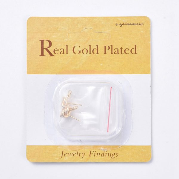3db884a26704f567ac9910a03cd1e6f2 Real 18K Gold Plated Brass Knot Earring Studs, with 925 Sterling Silver Pins and Loop, Nickel Free, 15x6mm, Hole: 1.5mm; Pin: 0.8mm, 2 pcs/ bag
