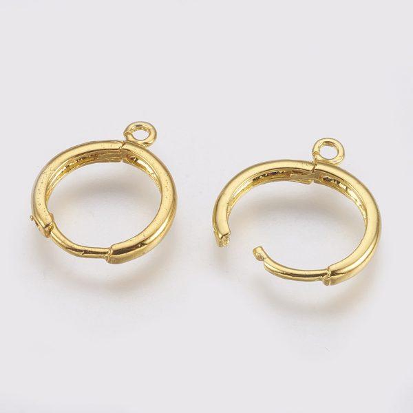 400092e330434b5b164c0c9e52e12d62 Real 18K Gold Plated Brass Huggie Hoop Earring Findings, with Loop, Nickel Free, 12 Gauge, 17x13.5x2mm, Hole: 1.5mm, Pin: 1mm, 10 pcs/ bag