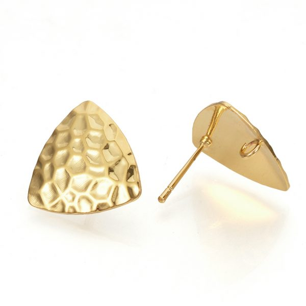 41f5bd457b823b40cb45c0516fe6b6bb Real 18K Gold Plated Brass Triangle Earring Studs with Loop, Nickel Free, 16.5x17mm, Hole: 2mm; Pin: 0.5mm, 2 pcs/ bag