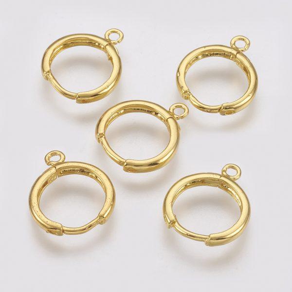 471f7185303beec484fda198353a79b9 Real 18K Gold Plated Brass Huggie Hoop Earring Findings, with Loop, Nickel Free, 12 Gauge, 17x13.5x2mm, Hole: 1.5mm, Pin: 1mm, 10 pcs/ bag