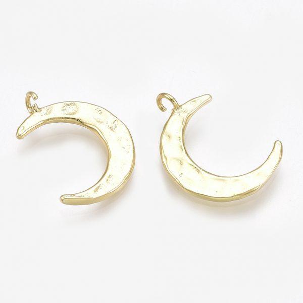 4af5e769ae889c9c4eb883b2951ca718 Real 18K Gold Plated Brass Moon Pendants, 16x11.5x1mm, Hole: 1.2mm, 5 pcs/ bag
