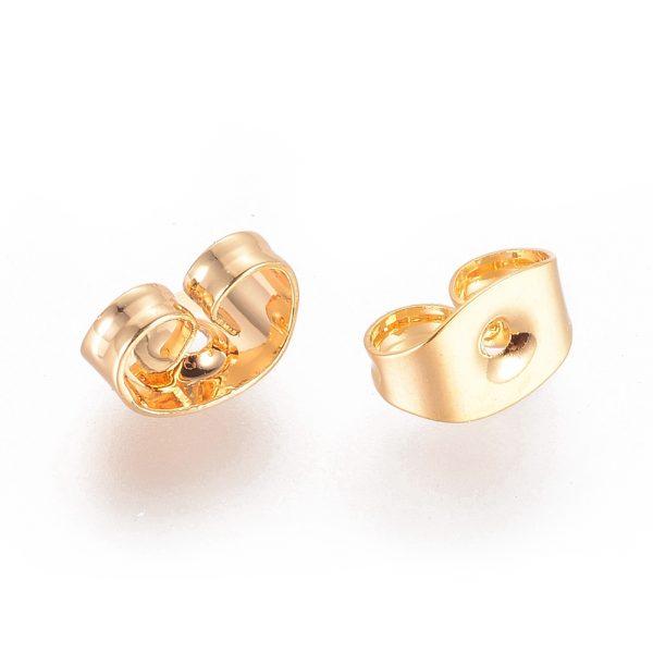 4ddb7d7ed795d166d6ee589324bc2a63 Real 18K Gold Plating Brass Ear Nuts, Earring Backs, Lead Free & Cadmium Free & Nickel Free, 6x4.5x3mm, Hole: 0.8mm, 20 pcs/ bag