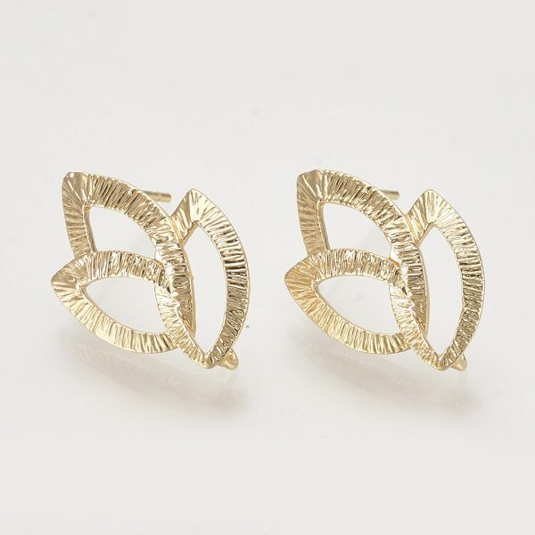 5b7a9df99c73ce188334ab1e17534a18 Real 18K Gold Plated Brass Leaf Earring Studs with Loop, Nickel Free, 22x14.5mm, Hole: 2mm; Pin: 0.8mm, 2 pcs/ bag