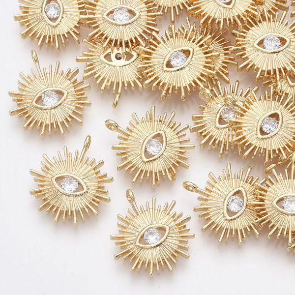 5cb6dc8d1ff8deaeb26b8e950936a2b8 Real 18K Gold Plated Brass Sun Charms with Eye, Cubic Zirconia Pendants, Nickel Free, 17x15.5x3mm, Hole: 1.2mm, 2 pcs/ bag