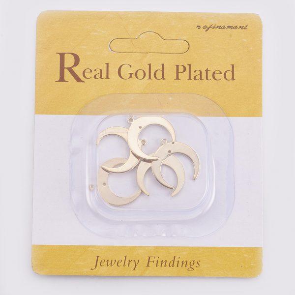 66031ae6170454e946caa7cf8d9dec69 Real 18K Gold Plated Brass Crescent Moon Pendants, Nickel Free, 19x18x1mm, Hole: 1mm, 5 pcs/ bag