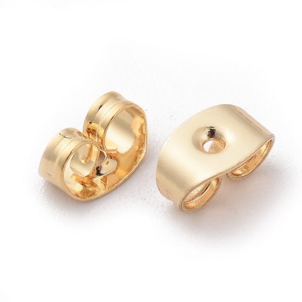 69696d302a2c2e63865aa36fa3b366c3 Real 18K Gold Plated Brass Ear Nuts, Earring Backs, Nickel Free, 5x3.5x2.5mm, Hole: 0.8mm, 20 pcs/ bag