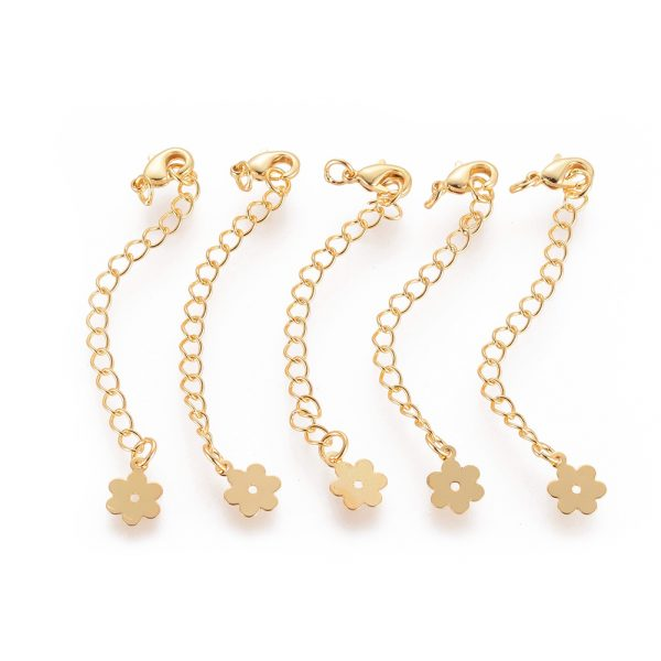 6ffe9bac7d59571085b4097bce1a6ae7 Real 18K Gold Plated Brass Chain Extender, with Lobster Claw Clasps and Flower Tips, 71x3mm, Hole: 2.5mm, 5 pcs/ bag