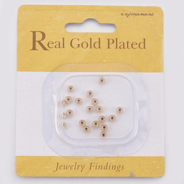 786b8aaf2c1e1546aa0068c135c2ef48 Real 18K Gold Plated Brass Rondelle Corrugated Beads, Nickel Free, 4x3mm, Hole: 1mm, 20 pcs/ bag