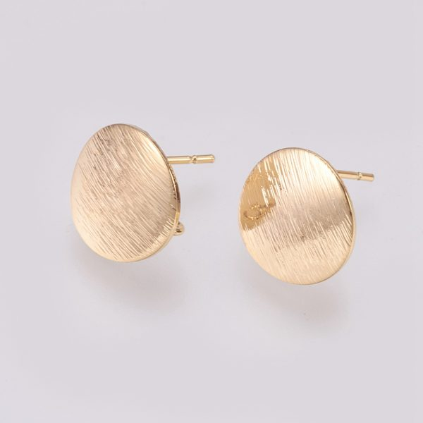 7ae66bc331594f5088fce99f54651840 Real 18K Gold Plated Brass Flat Round Earring Studs with Loop, Nickel Free, 12mm, Hole: 2mm; pin: 0.5mm, 4 pcs/ bag