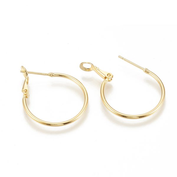 7dcdd77d0121371a27ed18384f4444aa Real 18K Gold Plated Brass Hoop Earrings, Nickel Free, 30x24.5x1.5mm; Pin: 0.7mm, 4pcs/ bag