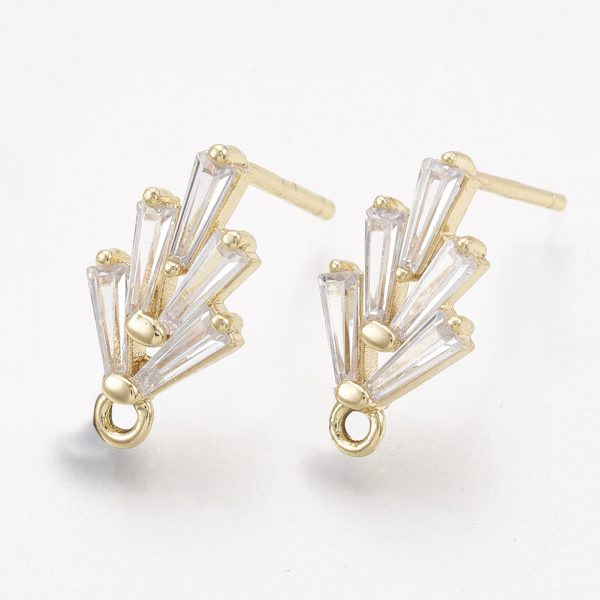 8282ab4b3d91c2f624bb67117e50d429 Real 18K Gold Plated Brass Earring Studs, Cubic Zirconia Charms, with Loop, Nickel Free, 14.5x7.5mm, Hole: 1mm; Pin: 0.5mm, 2 pcs/ bag