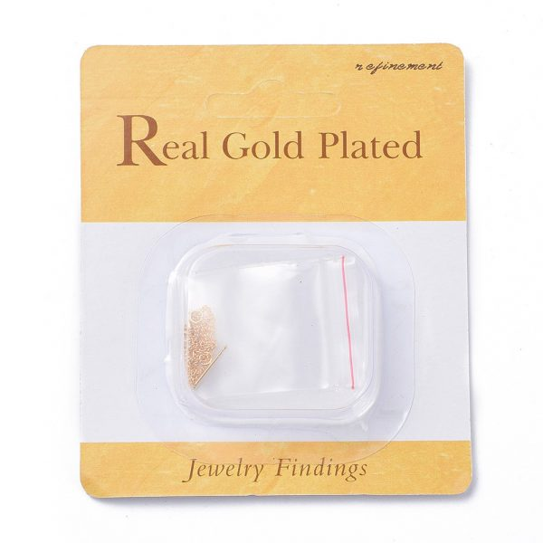 85a7bcb17eed7e8e978659288608ac59 Real 18K Gold Plated Brass Stud Earring Findings, Ear Threads, Nickel Free, 95mm, Hole: 2mm; Pin: 0.8mm, 2 pcs/ bag