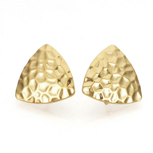 8b90622b08c28cd3efcbc2f65bd727f3 Real 18K Gold Plated Brass Triangle Earring Studs with Loop, Nickel Free, 16.5x17mm, Hole: 2mm; Pin: 0.5mm, 2 pcs/ bag