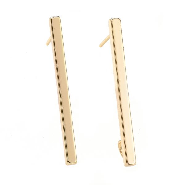 9246c1cebd9e2669e4f30b46e7e6585f Real 18K Gold Plated Brass Bar Earring Studs with Loop, Nickel Free, 35x2.5x2.5mm, Hole: 3mm; Pin: 1mm, 2 pcs/ bag