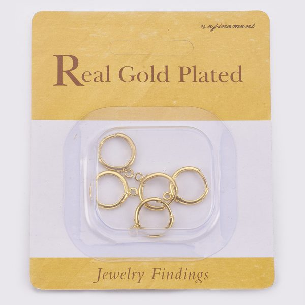 9cd2afba9acd283a85283d85dae5e3a6 Real 18K Gold Plated Brass Huggie Hoop Earring Findings, with Loop, Nickel Free, 12 Gauge, 17x13.5x2mm, Hole: 1.5mm, Pin: 1mm, 10 pcs/ bag