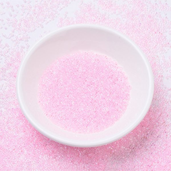 SEED J020 DB0071 MIYUKI Delica Beads 11/0, (DB0071) Pink Lined Crystal AB, 1.3x1.6mm, Hole: 0.8mm; about 2000pcs/10g