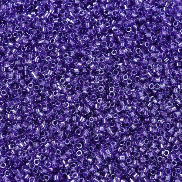 SEED J020 DB0284 1 MIYUKI Delica Beads 11/0, (DB0284) Sparkling Purple Lined Aqua Luster, 1.3x1.6mm, Hole: 0.8mm; about 2000pcs/10g