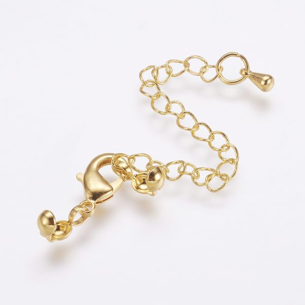 X KK F711 11G Real 24K Gold Plated Brass Chain Extender, with Lobster Claw Clasps and Bead Tips, 20mm; Extend Chain: 69mm; Bead Tips: 8x3.5mm; Inner: 3mm, Clasps: 12x6x2.5mm, 5 pcs/ bag
