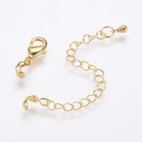 X KK F711 11G 1 Real 24K Gold Plated Brass Chain Extender, with Lobster Claw Clasps and Bead Tips, 20mm; Extend Chain: 69mm; Bead Tips: 8x3.5mm; Inner: 3mm, Clasps: 12x6x2.5mm, 5 pcs/ bag