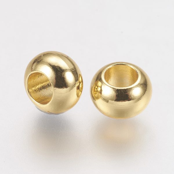 X KK F730 04G 1 Real 24K Gold Plated Brass Rondelle Spacer Beads, 6x4mm, Hole: 3mm, 20 pcs/ bag