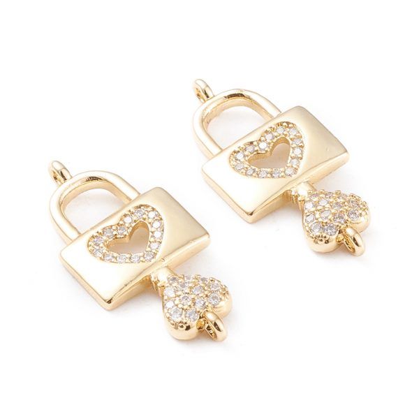 X KK F814 26G Real 18K Gold Plated Brass Heart Lock and Key Charm, Micro Pave Cubic Zirconia Links, 26.5x12x3mm, Hole: 1.2mm, 1 pcs/ bag