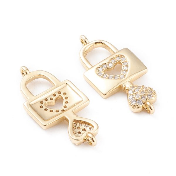 X KK F814 26G 1 Real 18K Gold Plated Brass Heart Lock and Key Charm, Micro Pave Cubic Zirconia Links, 26.5x12x3mm, Hole: 1.2mm, 1 pcs/ bag