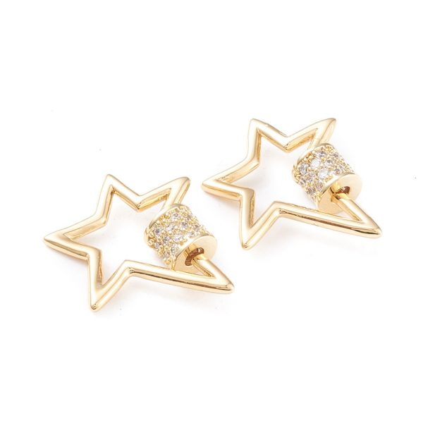 X KK F814 30G Real 18K Gold Plated Brass Star Screw Carabiner Lock Charms, Micro Pave Clear Cubic Zirconia, 19x18x5mm, Screw: 5x5mm, 1 pcs/ bag