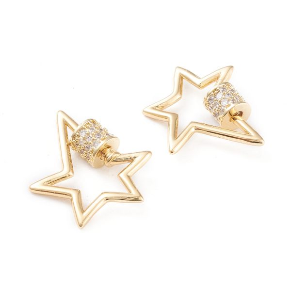 X KK F814 30G 1 Real 18K Gold Plated Brass Star Screw Carabiner Lock Charms, Micro Pave Clear Cubic Zirconia, 19x18x5mm, Screw: 5x5mm, 1 pcs/ bag