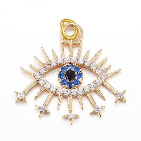 X KK I674 24G Real 18K Gold Plated Brass Blue Eye Charms, Micro Pave Cubic Zirconia Pendants, with Jump Rings, 19.7x21.1x2mm, Jump Ring: 4.4x0.6mm, Hole: 3.2mm, 1 pcs/ bag