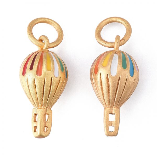 X KK I675 21G Real 24K Gold Plated Brass Enamel Hot Air Balloon Pendants, with Jump Rings, 18x9x9mm, Jump Ring: 7x1mm, Hole: 5mm, 1 pcs/ bag