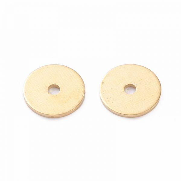 X KK K241 21G Real 18K Gold Plated Brass Flat Disc Spacer Beads, 6x0.5mm, Hole: 1mm, 100 pcs/ bag