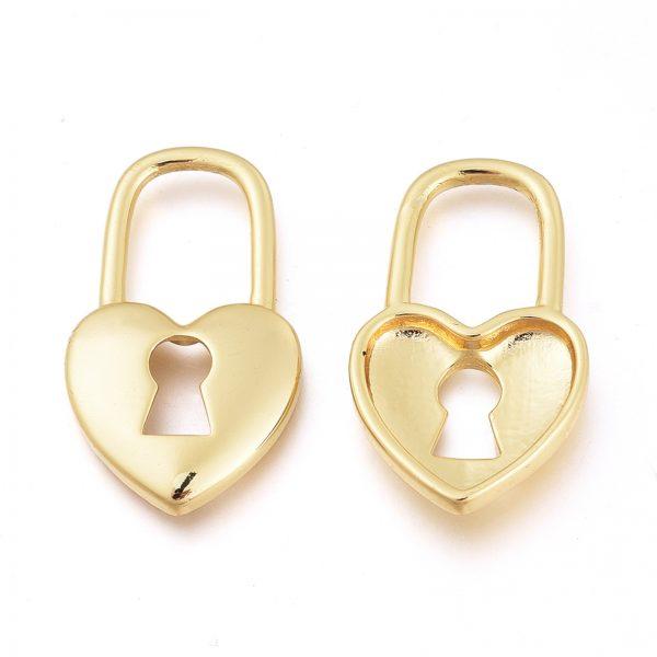 X KK L185 48G 1 Real 18K Gold Plated Brass Lock Pendants, 27x15.5x3mm, Hole: 12x9mm, 1 pcs/ bag