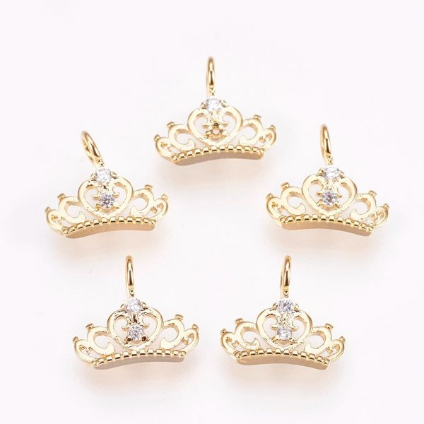 X KK P157 32G NF Real 18K Gold Plated Brass Crown Charms, Cubic Zirconia Pendants, Nickel Free, 9x10x2mm, Hole: 1.8mm, 2 pcs/ bag