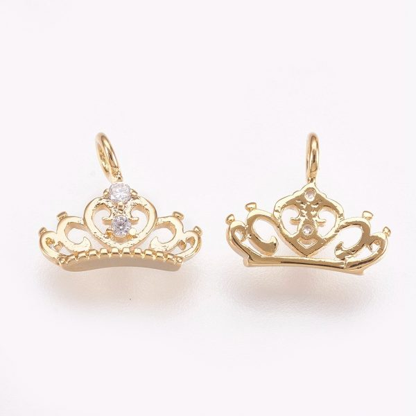 X KK P157 32G NF 1 Real 18K Gold Plated Brass Crown Charms, Cubic Zirconia Pendants, Nickel Free, 9x10x2mm, Hole: 1.8mm, 2 pcs/ bag